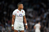 Anthony Watson of England looks on during a break in play. QBE International match between England and France on August 15, 2015 at Twickenham Stadium in London, England. Photo by: Patrick Khachfe / Onside Images