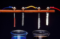 ELECTROLYSIS: COPPER SULFATE &amp; SILVER NITRATE<br /> Copper and Silver Plating Compared<br /> Copper sulfate solution  breaks into copper ions (Cu2+) and sulfate ions (SO42-). When electric current flows the solution Cu2+ bonds with negatively charged metal. A similar bond occurs in electrolyzed silver nitrate solution, silver ions bond to metal.