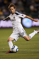 Mike Magee (18) midfielder of the LA Galaxy sends a ball to the goal. The LA Galaxy defeated the Portland Timbers 3-0 at Home Depot Center stadium in Carson, California on  April  23, 2011....