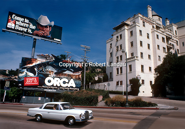 Billboard for the movie Orca next to the Chateau Marmont Hotel on the Sunset Strip circa 1977