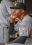 7 April 2016: Miami Marlins hitting coach Barry Bonds sits in the dugout prior to the Washington Nationals Home Opening Game at Nationals Park in Washington, DC. The Marlins defeated the Nationals 6-4 in their first meeting of the 2016 MLB season. Mandatory Credit: Ed Wolfstein Photo *** RAW (NEF) Image File Available ***