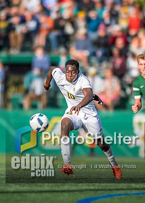 24 September 2016: University of Vermont Catamount Forward Bernard Yeboah, a Senior from Brescia, Italy, in action against the Dartmouth College Big Green at Virtue Field in Burlington, Vermont. The teams played to an overtime 1-1 tie in front of an Alumni Weekend crowd of 1,710 fans. Mandatory Credit: Ed Wolfstein Photo *** RAW (NEF) Image File Available ***