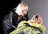 King Lear <br /> by William Shakespeare<br /> directed by Deborah Warner <br /> at the Old Vic Theatre, London, Great Britain <br /> 2nd November 2016 <br /> <br /> <br /> <br /> <br /> Jane Horrocks as Regan <br /> <br /> <br /> Karl Johnson as Gloucester <br /> <br /> <br /> Photograph by Elliott Franks <br /> Image licensed to Elliott Franks Photography Services