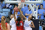 21 March 2015: North Carolina's N'Dea Bryant (22), with help from Allisha Gray (15), blocks a shot by Liberty's Jasmine Gardner (24). The University of North Carolina Tar Heels hosted the Liberty University Flames at Carmichael Arena in Chapel Hill, North Carolina in a 2014-15 NCAA Division I Women's Basketball Tournament first round game.