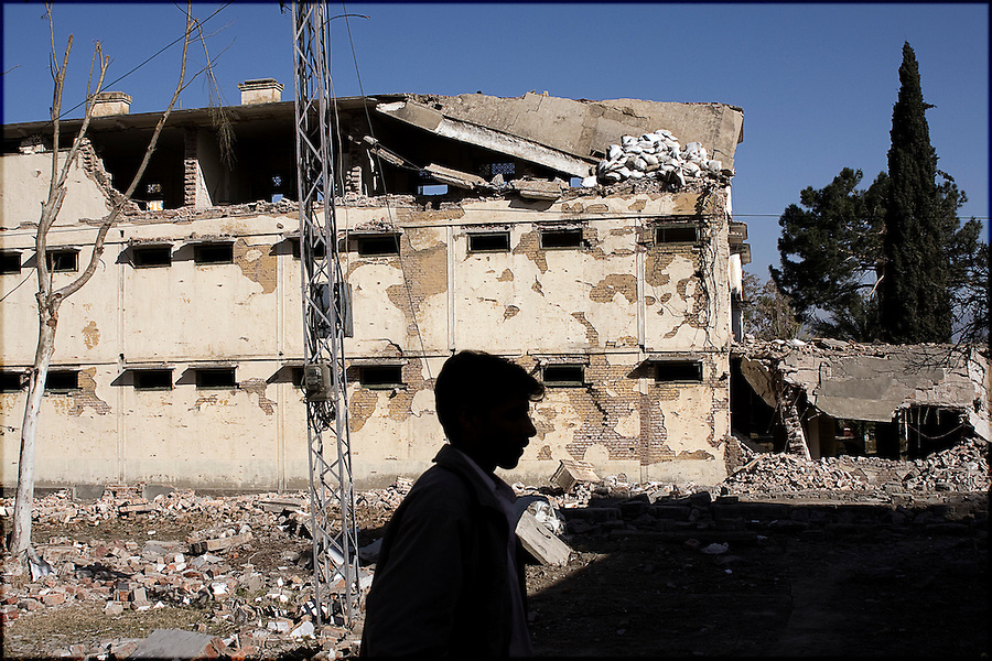 the aftermath of a suicide bomb attack against the Pakistan Army headquarters in Mingora, Swat.  the attack left most of the building in ruins, killed over 15, and sent a message to the 30,000 strong force that the militants were going to continue their campaign against government and civilan targets