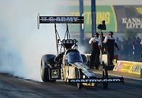 May 18, 2012; Topeka, KS, USA: NHRA top fuel dragster driver Tony Schumacher during qualifying for the Summer Nationals at Heartland Park Topeka. Mandatory Credit: Mark J. Rebilas-