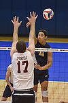 27 APR 2014: Kameron Beans (11) of Juniata College spikes against Springfield College during the Division III Men's Volleyball Championship held at the Kennedy Sports Center in Huntingdon, PA. Springfield defeated Juniata 3-0 to win the national title.  Mark Selders/NCAA Photos