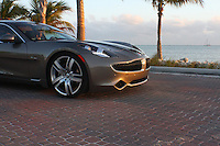 Fisker stunning electric car with thumbs up driver
