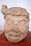 Maya Toothless Old Man of Copan or Pauahtun head from Temple 11, Copan Sculpture Museum, Copan, Honduras.