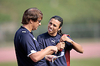 19 March 2009: Coach Abner Rogers with Marta Vieira da Silva forward player of the Los Angeles SOL Women's Soccer Team during a mid-day pre-season practice at the Track and Field stadium at Home Depot Sports Complex in Carson, California.  Marta, 23 from Dois Riachos, Alagoas, Brazil (BRA) is a three-time FIFA Women's World Player of the Year. .