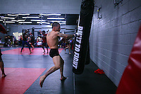 Jackson's/Winklejohn's: January 23, 2012 UFC Ffighter Damacio Page warms up on the bag prior to Coack Jacksons class at Jackson's/Winkeljohn's in Albuquerque, NM