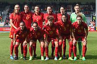 20170408 - EUPEN ,  BELGIUM : Spanish team with Sandra Panos (13)   Leila Ouahabi (3)   Andrea Pereira (4)   Ivana Andres (5)   Virginia Torrecilla (6)   Marta Corredera (7)   Maripaz Vilas (9)   Vicky Losada (14)   Mapi Leon (16)   Olga Garcia (17)  Amanda Sampedro (19)   pictured during the female soccer game between the Belgian Red Flames and Spain , a friendly game before the European Championship in The Netherlands 2017  , Saturday 8 th April 2017 at Stadion Kehrweg  in Eupen , Belgium. PHOTO SPORTPIX.BE | DIRK VUYLSTEKE
