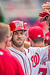 20 September 2015: Washington Nationals outfielder Bryce Harper returns to the dugout after scoring against the Miami Marlins at Nationals Park in Washington, DC. The Nationals defeated the Marlins 13-3 to take the final game of their 4-game series. Mandatory Credit: Ed Wolfstein Photo *** RAW (NEF) Image File Available ***