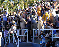 Fans of the University of Akron during the 2010 College Cup final against the University of Louisville at Harder Stadium, on December 12 2010, in Santa Barbara, California.Akron champions, 1-0.
