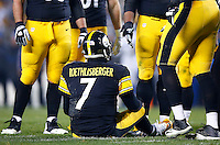 Ben Roethlisberger #7 of the Pittsburgh Steelers sits on the field after being hit in the second half against the Indianapolis Colts during the game at Heinz Field on December 6, 2015 in Pittsburgh, Pennsylvania. (Photo by Jared Wickerham/DKPittsburghSports)