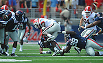 Georgia running back Isaiah Crowell (1) is tackled by Ole Miss' Uriah Grant (98) at Vaught-Hemingway Stadium in Oxford, Miss. on Saturday, September 24, 2011. Georgia won 27-13.