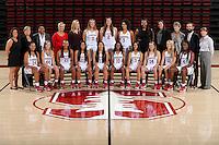 STANFORD, CA - September, 20, 2016: The 2016-2017 Stanford Women's Basketball Team. Erica McCall (24), Karlie Samuelson (44), Dijonai Carrington (21), Alexa Romano (22), Marta Sniezek (13), Briana Roberson (10), Anna Wilson (3), Mikaela Brewer (14), Brittany McPhee (12), Nadia Fingall (4), Katelin Knox, Eileen Roche, Tempie Brown, Kate Paye, Brittany Keil, Alanna Smith (11), Shannon Coffee (2), Kaylee Johnson (5), Shelbi Chandler, Hana Potter, Amy Tucker, John Cantalupi, Tara VanDerveer.