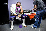 Lucha Libre AAA wrestler Silver King waits to be patched-up after accidentally being cut during a match in Sacramento, CA March 28, 2009.