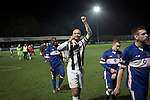 Stafford Rangers 2 Chasetown 1, 26/12/2015. Marston Road, Northern Premier League. Home team captain Christian Dacres celebrating at the final whistle at Marston Road, home of Stafford Rangers as they took on local rivals Chasetown in a Northern Premier League first division south fixture. The club has played at Marston Road since 1896 and achieved prominence in the 1970s and 1980s as one of England's top non-League teams. League leaders Stafford won this match 2-1, despite having a man sent off, watched by a season's best attendance of 978. Photo by Colin McPherson.