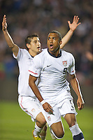 Carson, Ca-January 22, 2010: Teal Bunbury of the USA men's national team celebrates scoring a goal on a penalty kick during a 1-1 tie with Chile at the Home Depot Center in Carson, California.
