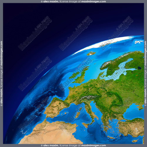 View of the Earth globe from space showing European continent. Isolated on dark blue background.