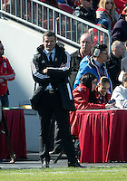 30 March 2013:Toronto FC head coach Ryan Nelsen watches the action during an MLS game between the LA Galaxy and Toronto FC at BMO Field in Toronto, Ontario Canada..The game ended in a 2-2 draw..
