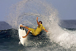 06 June 2001, Male, Maldives ---  A surfer in action during the WQS O'neill Deep Blue Open surfing championship in Maldives islands. Photo by Victor Fraile --- Image by © Victor Fraile/Corbis