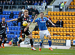 St Johnstone v Kilmarnock...07.11.15  SPFL  McDiarmid Park, Perth<br /> Steven Smith handles the ball in the box as he tackles Steven MacLean<br /> Picture by Graeme Hart.<br /> Copyright Perthshire Picture Agency<br /> Tel: 01738 623350  Mobile: 07990 594431