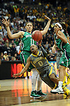 03 APR 2012: Odyssey Sims (0) of Baylor University gets tripped while driving to the basket while Skylar Diggins (4) of the University of Notre Dame and Natalie Achonwa (11) of the University of Notre Dame defend during the Division I Women's Basketball Championship held at the Pepsi Center in Denver, CO. Stephen Nowland/NCAA Photos