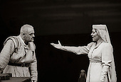 "King Lear (Anthony Hopkins) and Regan (Suzanne Bertish) in  ""King Lear"" by William Shakespeare at the National Theatre, London 1986.  Directed by David Hare and designed by Hayden Griffin."