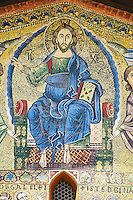 Close up of the 13th century Byzantine Mosaic panel depicting Christ Pantocrator on the Basilica of San Frediano, a Romanesque church, Lucca, Tunscany, Italy