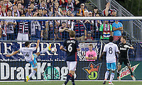 Foxborough, Massachusetts - August 20, 2016:  In a Major League Soccer (MLS) match, Columbus Crewn (yellow/white/blue) defeated New England Revolution (blue/white), 2-0, at Gillette Stadium.<br /> Michael Parkhurst clears ball off the line.