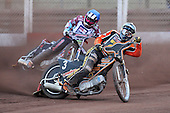 Heat 7: Ludvig Lindgren (white) and Robert Mear (blue) - Lakeside Hammers vs Wolverhampton Wolves - Elite League Speedway at Arena Essex Raceway - 16/05/11 - MANDATORY CREDIT: Gavin Ellis/TGSPHOTO - Self billing applies where appropriate - Tel: 0845 094 6026