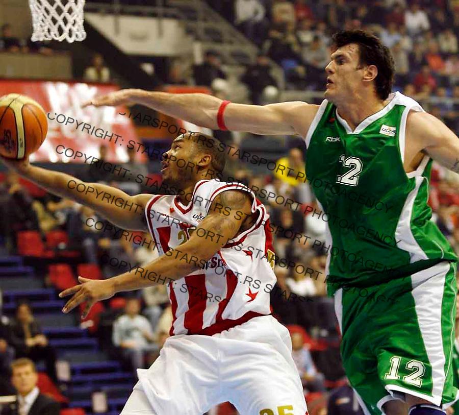 KOSARKA, ULEB CUP, SEZONA 2006/07&amp;#xA;CRVENA ZVEZDA-UNICS (KAZAN RUSIJA)&amp;#xA;Antonio Burks &amp; Kristof Lavrinovic&amp;#xA;Beogradm 07.11.2006.&amp;#xA;foto: SRDJAN STEVANOVIC<br />