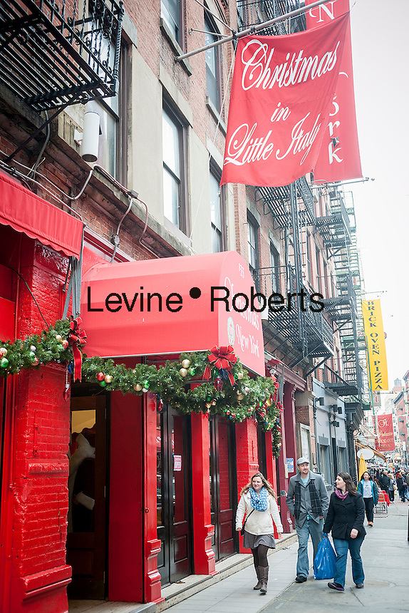 A year-round Christmas store, formerly the S.P.Q.R. Restaurant, on Mulberry Street in the Little Italy neighborhood of New York on Sunday, March 30, 2014. Changing demographics and sharp rent increases have decimated the Little Italy neighborhood reducing the once thriving Italian enclave from a fifty-block area into a short three blocks mostly populated by tourist oriented businesses. Eight restaurants have closed in the past year as their leases came up and negotiations with landlords were fruitless. As Chinatown moves north many Italian businesses had been displaced by businesses catering to their Asian customers. (© Richard B. Levine)