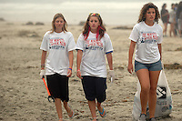"Cassidy Cooke, Shannon Bolch and Maggie Banner took part in the ""The Morning After Mess"" Beach Clean Up on July 5th, 2008.  The trio said that there was so little trash on the beach that they moved on to the boardwalk and surrounding area to find trash.  Volunteers and organisers of several beach clean-ups in the Pacific and Mission Beach area were stunned by the huge reduction in trash on the beaches compared to what they are used to finding each year on July 5th after the big Fourth of July holiday.  The cleanliness of the beaches left many searching the side streets and alleys for trash to collect."