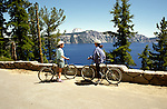 OR:  Oregon; Crater Lake National Park, kids bicycling, model released           .Photo Copyright Lee Foster, lee@fostertravel.com, www.fostertravel.com, (510) 549-2202.Image orcrat205