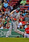 8 June 2012: Washington Nationals outfielder Bryce Harper in action against the Boston Red Sox at Fenway Park in Boston, MA. The Nationals defeated the Red Sox 7-4 in the opening game of their 3-game series. Mandatory Credit: Ed Wolfstein Photo