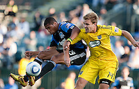 Ryan Johnson (19) tries to bring in the ball mid-air against Chad Marshall (14). The San Jose Earthquakes tied the Columbus Crew 2-2 at Buck Shaw Stadium in Santa Clara, California on June 2nd, 2010.