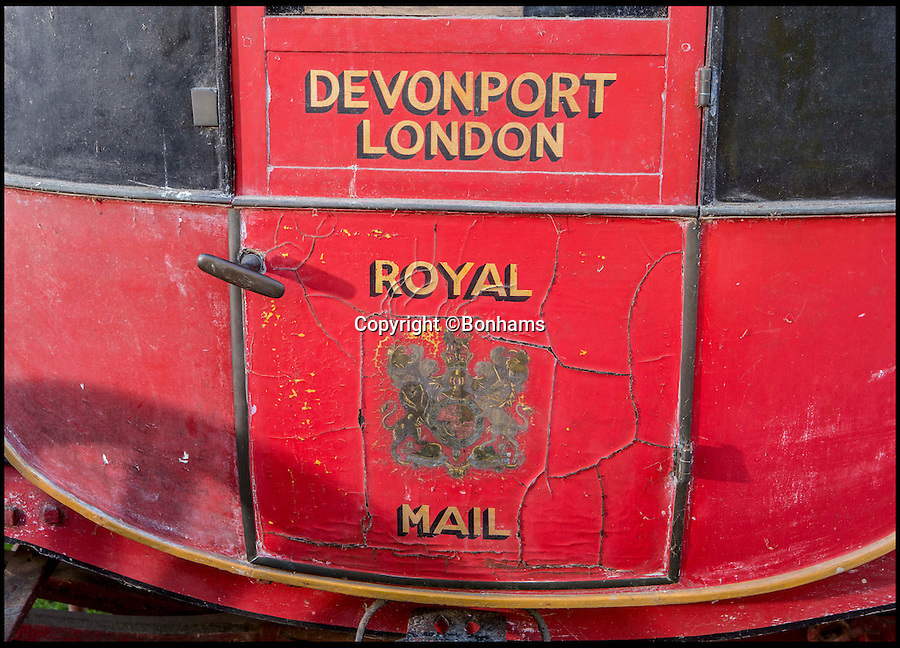 BNPS.co.uk (01202 558833)<br /> Pic: Bonhams/BNPS<br /> <br /> The last remaining Royal Mail coach that was once attacked by an escaped LION has emerged for sale for &pound;70,000.<br /> <br /> The 200 year old horse-drawn carriage was known as 'Quicksilver' because it was the fastest ever carriage in the land. It was attacked by an escaped lion from a travelling menagerie near Salisbury in 1816.<br /> <br /> The red and black wrought iron wagon harks back to the golden age of the Royal Mail is being sold by auctioneers Bonhams.