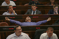 Yesh Atid MK Ofer Shelah  during a plenum session voting on the state budget, in the Knesset, Israel's Parliament, in Jerusalem, late night July 29, 2013. The Knesset approved the State Budget at second and third readings in the early hours of Tuesday morning in a 58-43 vote, following a 15-hour parliamentary session. Photo by Oren Nahshon