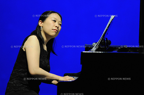 April 28, 2013, Surabaya, Indonesia - .Kanako Inoue, Japanese pianist, performing in classical music concert title Around the World, collaborating with Pieternel Berkers (Dutch accordion) and Bernadeta Astari (Indonesian soloist) at Cak Durasim building. (Photo by Robertus Pudyanto/AFLO)