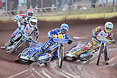 Heat 3: Ben Hopwood (blue), David Mason (red), Doug Nicol (white) and Mike Buman - Hackney Hawks vs Team America - Speedway Challenge Meeting at Rye House - 09/04/11 - MANDATORY CREDIT: Gavin Ellis/TGSPHOTO - Self billing applies where appropriate - Tel: 0845 094 6026