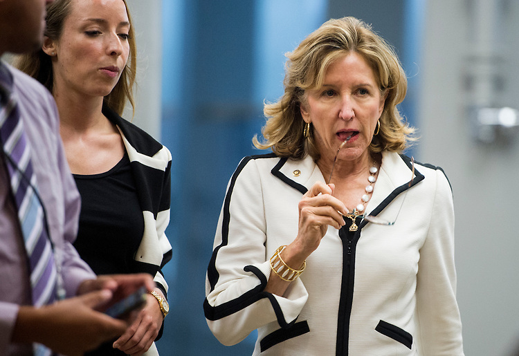 UNITED STATES - SEPTEMBER 11: Sen. Kay Hagan, D-N.C., arrives for the Senate closed briefing in the Capitol on the White House strategy on ISIL on Thursday, Sept. 11, 2014. (Photo By Bill Clark/CQ Roll Call)