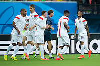 Raheem Sterling of England warms up with his team mates