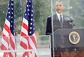 United States President Barack Obama makes remarks at the Commemoration Ceremony at the National September 11 Memorial at the World Trade Center Site at the World Trade Center Site in New York, New York on September 11, 2011.  The President and First Lady are also visiting the Pentagon and the crash site of Flight 93 in Shanksville Pennsylvania in a series of events to commemorate the 10th anniversary of the attacks. .Credit: Kristoffer Tripplaar / Pool via CNP