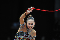 Daria Kondakova of Russia performs with rope during Event Finals at 2010 World Cup at Portimao, Portugal on March 14, 2010.  (Photo by Tom Theobald).
