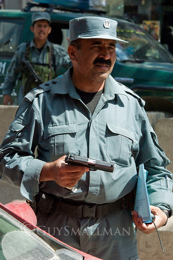 Police checkpoint in Kabul during government election. 18-9-10