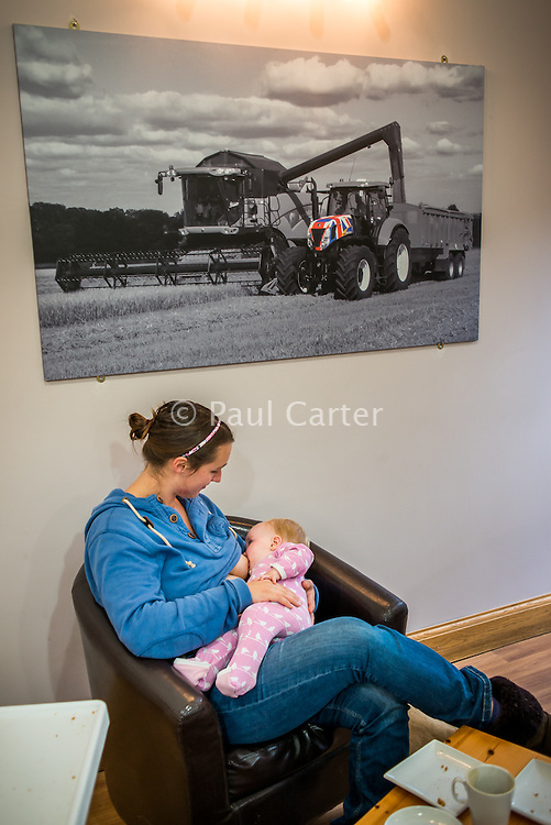 A mother breastfeeding her baby of eight months in a cafe at a visitor farm park .<br /> <br /> Image from the breastfeeding collection of the &quot;We Do It In Public&quot; documentary photography picture library project: <br />  www.breastfeedinginpublic.co.uk<br /> <br /> <br /> Gloucestershire, England, UK<br /> 30/09/2013<br /> <br /> &copy; Paul Carter / wdiip.co.uk