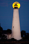 The Blue Moon rises over the Saint Marks Lighthouse in Wakulla County in the Florida panhandle along the Forgotten Coast.  The full moon was the second full moon in November 2010.